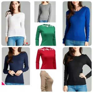 Womens Thermal Long Sleeve Basic Solid Waffle Knit Crew Neck T Shirt Top Jr. Siz $5.99
