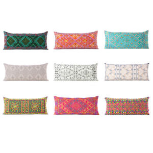 Colorful Embroidered Pillow Cover Case Bolster Cushion Long Lumbar Sofa Couch Th $6.88