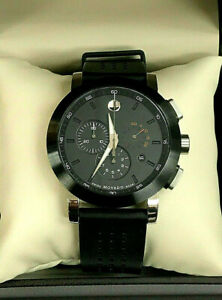Movado 0606545 Museum Chronograph Black PVD Steel Rubber Men's Watch WARRANTY