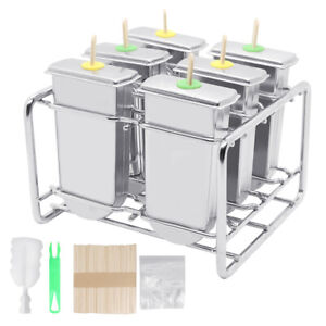 6pcs Stainless Steel Ice Cream Sticks Mold Ice Lolly Popsicle Pop Holder Silver