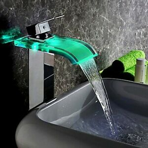 LED Bathroom Vessel Sink Faucet Glass Waterfall Spout 1-Hole Mixer Tap in Chrome  $93.99