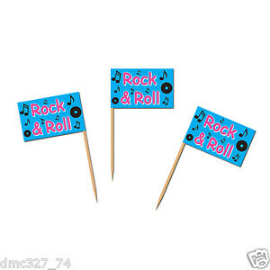 50 1950s Sock Hop GREASE Party Food Cupcake Hors D'Oeuvers ROCK & ROLL PICKS