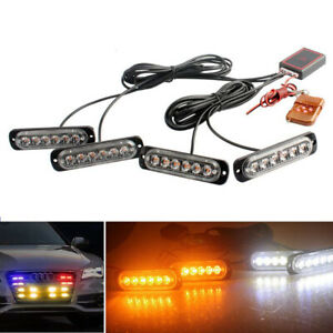 Car 6LED Amber White Police Strobe Flash Light Dash Emergency Warning Lamp Kit