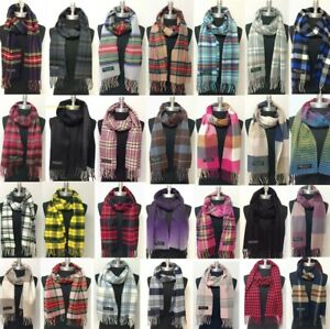 Mens Womens Winter Warm SCOTLAND Made 100% CASHMERE Scarf Scarves Plaid Wool $8.99