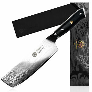 Kessaku Butcher Cleaver Nakiri Knife 67-Layer Japanese Damascus Steel, 7-Inch