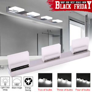 Modern Bathroom Vanity 2 3 4 LED Light Crystal Front Mirror Toilet Wall Lamp
