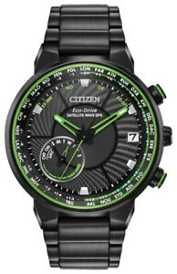 New Citizen Satellite Wave GPS Solar Black PVD Steel Men's Watch CC3035-50E