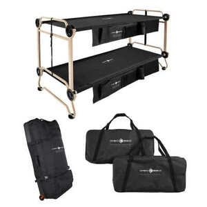 Portable Bunk Bed Cot Bundle Converts to Sitting Bench Seat Camping Dorm Guest