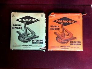 4 Vintage Diamond Double Ringer Pitching Horseshoes in Boxes 2 Green 2 Orange