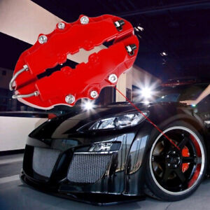 4x 3D Car Universal Disc Brake Caliper Covers Front & Rear Red Accessories Kit