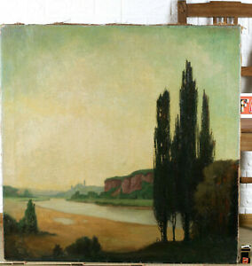 Signed Oil Painting Antique Landscape with Cypresses River Similar to Arnold