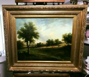 Vintage Oil Painting of a Landscape on Wood Panel Gilded Frame *FREE SHIPPING*