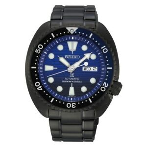 NEW SEIKO PROSPEX TURTLE BLUE WHALE AUTOMATIC DIVER 45MM BLACK PVD CASE SRPD11