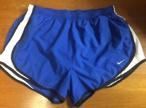 Nike Dri Fit Women's Size Large Running Shorts with Liner Blue Black White