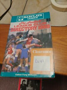 Barclays League: Football League Club Directory 1988 Hardback Book