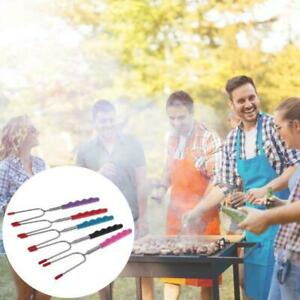 Telescoping BBQ Fork Sticks Marshmallow Hot Dog Smore Skewers Stainless Steel Q
