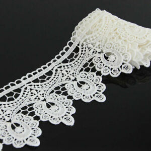 2 Yards Polyester Floral Lace Applique DIY Sewing Trim Crafts Trimming Off White $6.06
