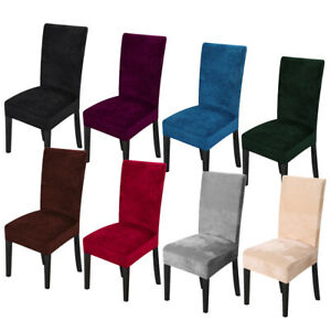 1 4 6 8Pc Spandex Stretch Velvet Dining Chair Covers Seat Protector Slipcovers $27.96