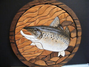 INTARSIA WALL ART Bass Fish Wooden Fishing Hand Painted Quilted Inlaid Wood 16