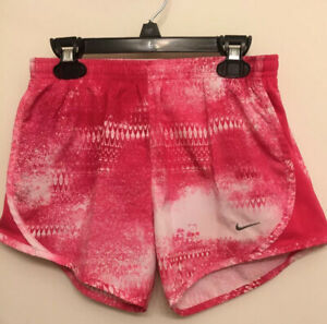 Nike Girls Dri-Fit Running Training Shorts Youth L  Pink And White