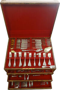 Chrysanthemum by Durgin Sterling Silver Flatware Set Service 300 Pieces Massive