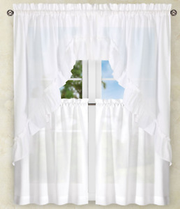Stacey Solid Kitchen Curtain Collection - White {NEW} !