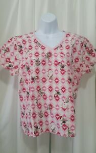 DICKIES SMALL MONKEY#x27;S AND HEARTS SCRUB TOP