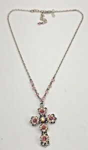 AUTHENTIC KIRKS FOLLY CRYSTAL PINK CROSS PENDANT LADIES NECKLACE SILVER TONE