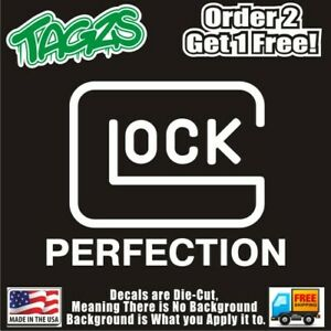 Glock Perfection Gun 2nd Amendment DieCut Vinyl Window Decal Sticker Car Truck