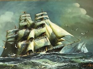 Victorian Style Marine Clipper Ship High Seas Oil Painting Signed Conrad Herman