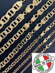 14k Gold Over Solid 925 Sterling Silver Mariner Chain Necklace Or Bracelet ITALY $45.07