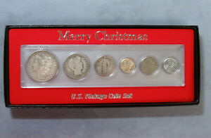 Merry Christmas 6pc Silver Vintage Coin Set Boxed Steel Cent to Morgan Dollar $62.45