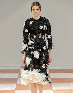 HOLY GRAIL 2015 * CELINE * CORNELY EMBROIDERED TROMPE L´OEIL RUNWAY DRESS (S)