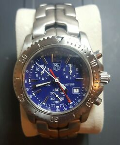 Men's Tag Heuer Link CT1110 Stainless Steel Blue Dial 40mm Swiss Quartz Chrono