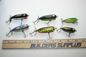 6 ct USED Heddon Torpedo Topwater Fishing Lures - Multi Colors - TP11
