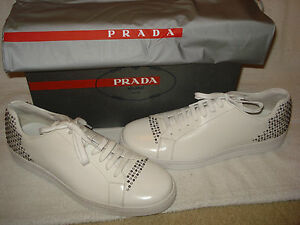100% AUTHENTIC NEW MEN PRADA WHITE LEATHER STUDDED SNEAKERS UK 8US 9 D