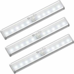 3PCS OxyLED 10LED Motion Sensor Closet Lights Cordless Under Cabinet Lightening