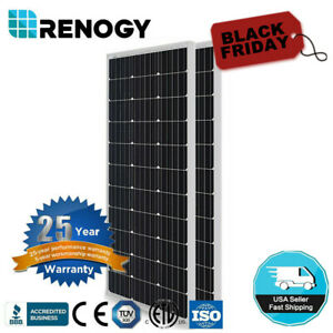2PCS Renogy Compact Design 100W Watt 12V Volt Mono 200W Solar Panel PV Power