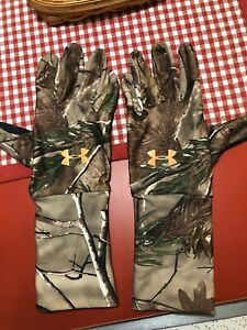 Men's Under Armour Cold Gear Liner Gloves Real Tree Camo sz Lg