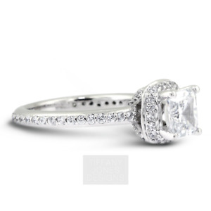 6 1/2ct D SI1 Radiant Natural Certified Diamonds 950 PL. Halo Side-Stone Ring