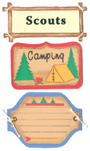 Scouts Girl Boy Camping Tent Woods Signs Tags Paper Bliss Stickers