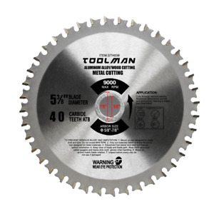 Toolman Circular Saw Blade Universal Fit 5quot; 3 8quot; 40T For Metal Aluminum Steel $9.49