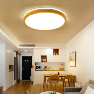 Modern LED Dimmable Ceiling Light Wooden Round Flush Mount Ceiling Lamp Fixtures