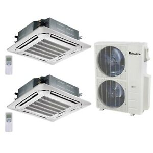 Klimaire 2 Zone 30K BTU 18Kx2 Ceiling Cassette 19 Seer AC Mini Split Heat Kit