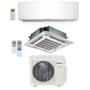 Klimaire 25K BTU 2 Zone 18K Ceiling 9K Wall 22 Seer AC Mini Split Heat 15 FT Kit