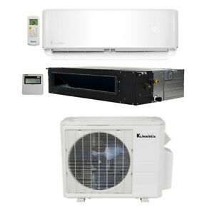 Klimaire 28000 BTU 2 Zone 18K Wall 18K Ducted Recessed AC Heat Mini Split Kit