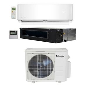 Klimaire 32K BTU 2 Zone 12K Wall 24K Ducted Recessed AC Heat Mini Split 15 Kits
