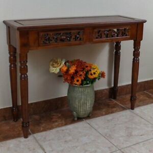 International Caravan Furniture Piece Carved Two Drawer Table Brown New