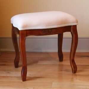 International Caravan Furniture Piece Wood Stool with Cushioned Top Brown New