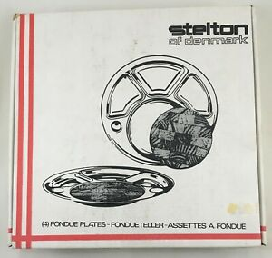 STELTON - Fondue plates stainless steel with cutting boards - set of 4 NIB